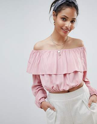 Glamorous Off Shoulder Crop Top With Ruffle Layer
