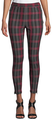 Alexander Wang Fitted Stretch Plaid Leggings with Zippers