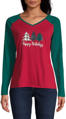 City Streets V Neck Long Sleeve Holiday T-Shirt