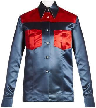 Calvin Klein Contrast-panel duchess-satin shirt