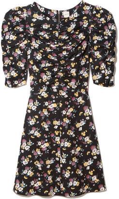 Rebecca Taylor La Vie Posey-Print Silk Twill Dress in Black Combo