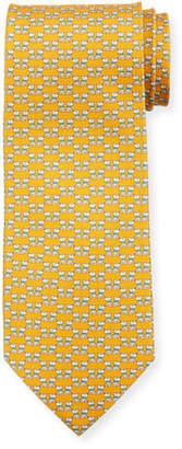 Salvatore Ferragamo Fido Dogs Printed Silk Tie, Yellow