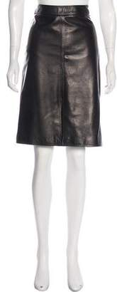 Loro Piana Leather Knee-Length Skirt