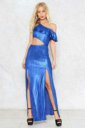 Nasty Gal A Cut Above Metallic Maxi Dress