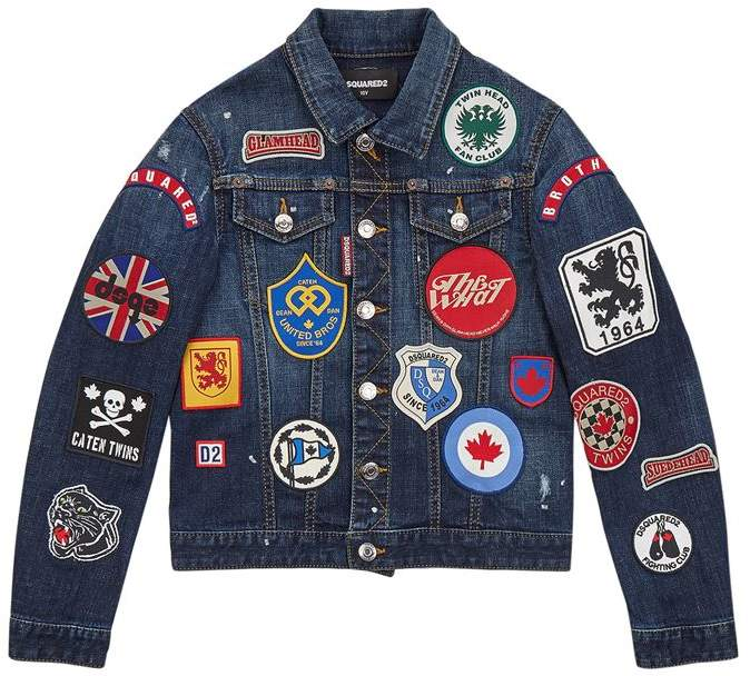 Badge Embellished Denim Jacket