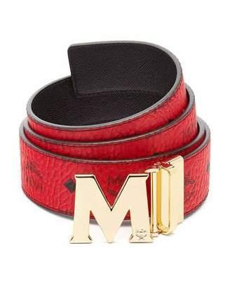 MCM Claus Golden Reversible Visetos/Saffiano Belt, Ruby Red $295 thestylecure.com