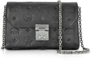 MCM Millie Black Monogrammed Leather Small Flap Crossbody Bag