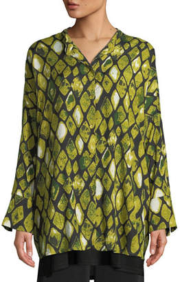 Masai Irma Long-Sleeve Blouse in Diamond Print