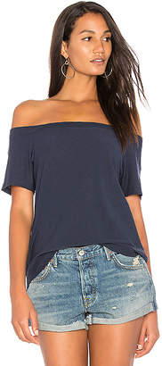Nation LTD Neve Off The Shoulder Top in Navy $88 thestylecure.com