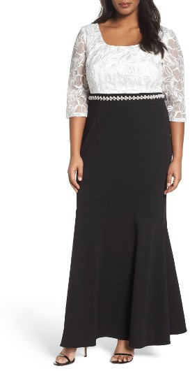Alex EveningsPlus Size Women's Alex Evenings Embellished Waist Colorblock Gown