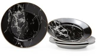 MoDRN Glam Mason 4 Piece Salad Plate Set, Black