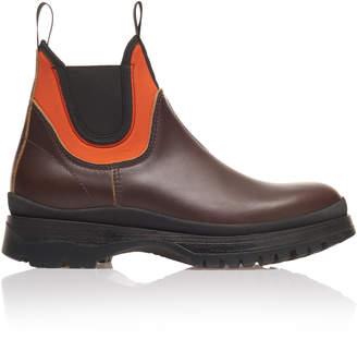 Prada Leather And Orange Neoprene Sock Boots