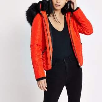 River Island Orange fur hood long sleeve padded jacket
