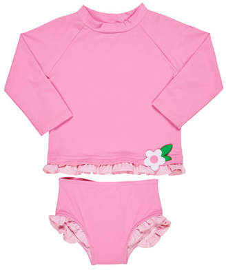 Florence Eiseman Ruffle-Trim Rash Guard w/ Matching Bottoms, Size 2-6X