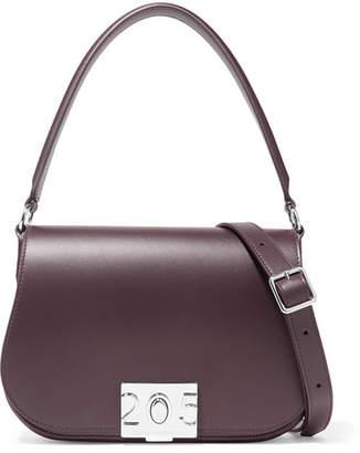 Calvin Klein Bonnie Grosgrain-trimmed Leather Shoulder Bag - Merlot