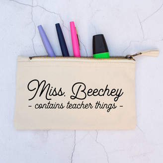 Blueberry Boo Kids Personalised 'Teacher Things' Pencil Case