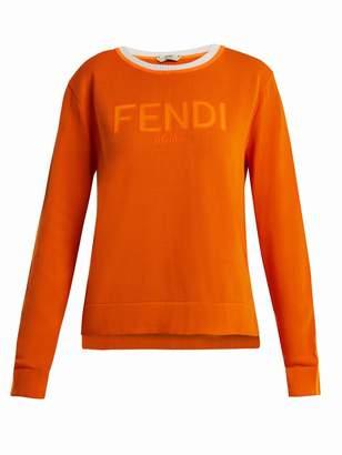 Fendi Long-sleeve crew-neck logo knit sweater