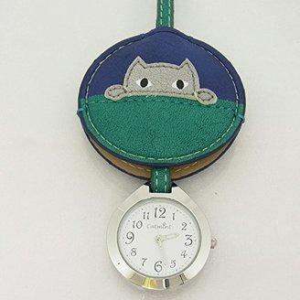 バックに付けるアクセサリー時計 ハングウォッチ かくれんぼネコ/グリーン