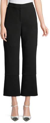 Oscar de la Renta Cropped Crepe Pants w/ Slit Back
