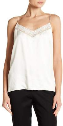 Robert Rodriguez Lace Trim V-Neck Silk Tank Top