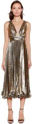 Maria Lucia Hohan Metallic Silk Blend Plissé Midi Dress