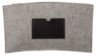 Reed Krakoff Woven Leather-Paneled Clutch Black Woven Leather-Paneled Clutch