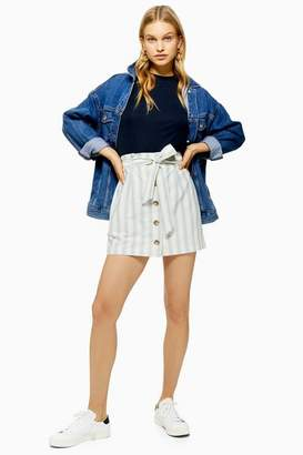 Topshop Stripe Paperbag Mini Skirt