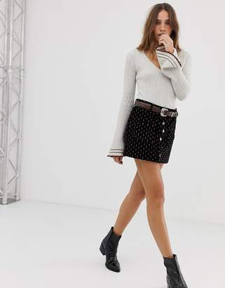 Free People Joanie printed button up mini skirt