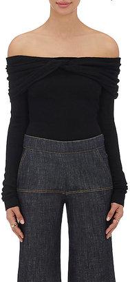 Derek Lam Women's Cashmere-Silk Off-The-Shoulder Sweater-BLACK $1,295 thestylecure.com
