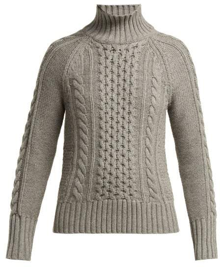 Awakino Cable Knit Cashmere Sweater - Womens - Grey