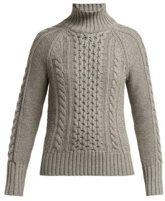 Burberry Awakino Cable Knit Cashmere Sweater - Womens - Grey
