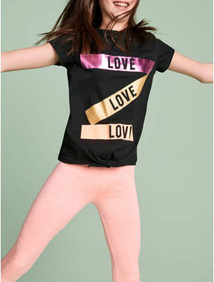 George Love Slogan Tie-Front Top and Leggings Outfit