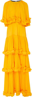 MSGM Ruffled Tier Maxi Dress With Removeable Cape