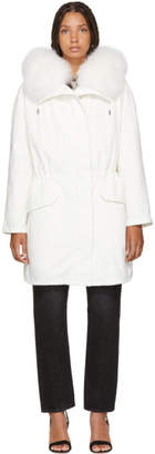Yves Salomon Army White Classic Fur-Lined Parka