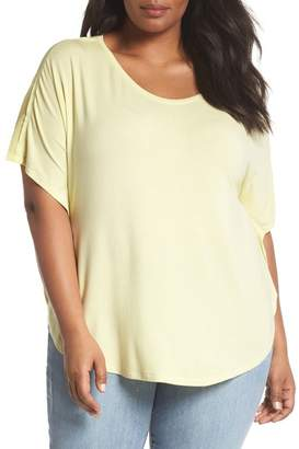 Sejour Mesh Inset Sleeve Tee (Plus Size)