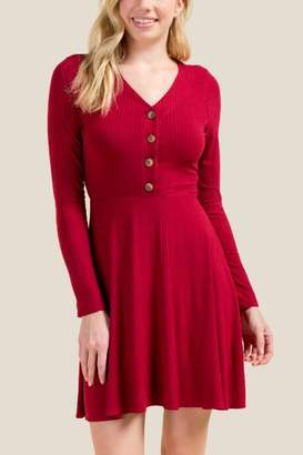 francesca's Katie Ribbed Button Front Knit Dress - Brick