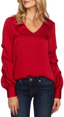 CeCe Drape Sleeve V-Neck Blouse