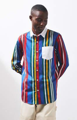 PacSun Drip Stripe Long Sleeve Button Up Shirt