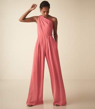 8ae9e43d93f Reiss POLLY ASYMMETRIC SHOULDER WIDE LEG JUMPSUIT Coral