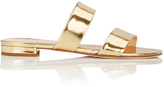 Barneys New York Women's Specchio Leather Double-Band Slide Sandals $195 thestylecure.com