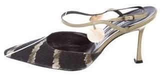 Manolo Blahnik Canvas Ankle Strap Pumps