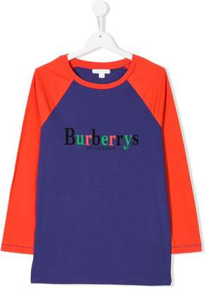 Burberry Archive Logo Print Two-tone Cotton Top