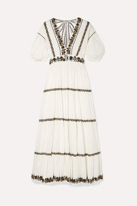 Ulla Johnson Alma Sequined Embroidered Crinkled Cotton-voile Maxi Dress - White