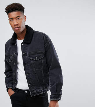 Asos Design DESIGN tall oversized denim jacket with borg collar in washed black
