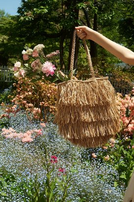 Urban Outfitters Fringed Straw Tote Bag $49 thestylecure.com