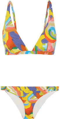 Mare Printed Triangle Bikini - Orange