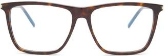 Saint Laurent Classic Squared Frame Acetate Glasses - Womens - Tortoiseshell