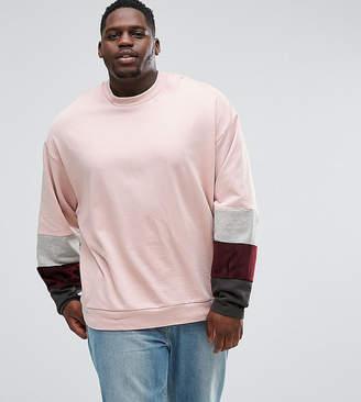Asos PLUS Oversized Sweatshirt With Velour Color Blocking Sleeve Panels