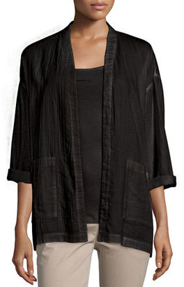 Eileen Fisher Organic Cotton Open-Front Boxy Jacket, Petite $258 thestylecure.com