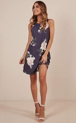 Showpo Shut It Down dress in navy floral - 10 (M)